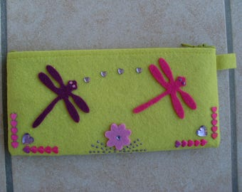 Dragonflies and hearts pattern felt pouch. Free shipping.