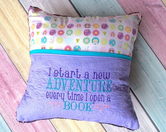Pink and Gold Mermaid Sequin Princess Book Pillow