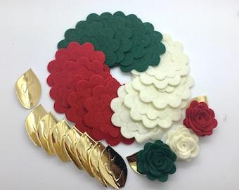 20 pcs Wool Felt Rose Flower, DIY Felt Flower, Die Cut Felt Flower.