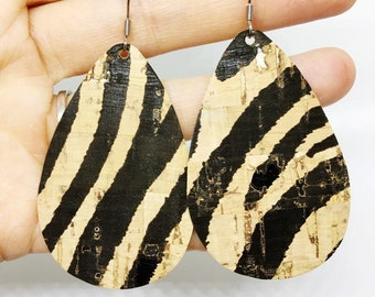 Zebra print cork earrings, cork teardrop earrings, Black and Tan earrings, zebra print earrings, animal print earrings, lightweight earrings