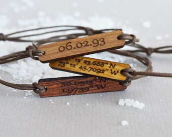 Coordinates Bracelet in Wood, Walnut, Mahogany or Oak Latitude Longitude Bracelet on Cotton String with Round Corners