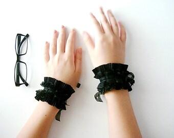 Black Lace wrist cuff bracelet, Black ruffle cuffs, Goth Jewelry, Black Wedding accessories