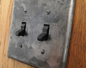 Switch Plate - Fire Cooked Wrought Iron Double Switch/Toggle Wall Plate
