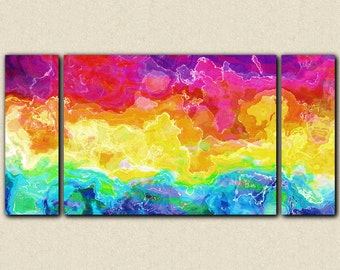 "Abstract large wall art stretched canvas print, 30x60 to 40x78 in bright colors, from abstract painting ""Rainbow Connection"""