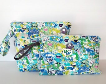 Wet Bag, zippered bag, travel pouch, toiletry bag, nappy bag - Monsters