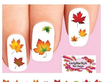 Waterslide Nail Decals Set of 20 - Thanksgiving Fall Autumn Leaves Assorted