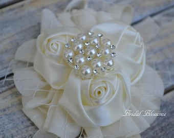 Ivory Satin Chiffon Ribbon Flower Wrist Corsage | Vintage Inspired Wedding | Mother of the Bride | Bridal Party Baby Shower Prom | Pearl