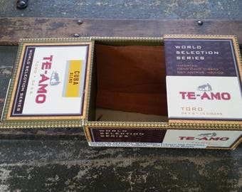 Cigar box vintage, small cardboard cigar box, Te Amo cigar box vintage