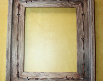 Barnwood Picture Frame 8x10 with Vtg Two Strand Barbed Wire Weathered Fence Wood