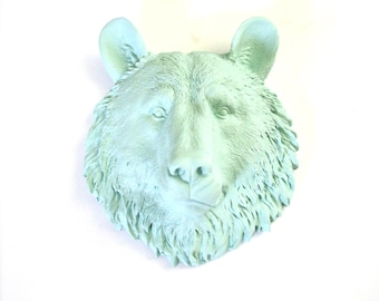 ICICLE BLUE Small Faux Taxidermy Bear Head wall mount wall hanging nursery decor //office decor //woodland animal //mini // home decor