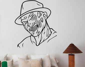 Freddy Krueger Wall Art Decal Removable Vinyl Sticker A Nightmare on Elm Street Decorations for Home Dorm Bedroom Horror Movie Decor krg3