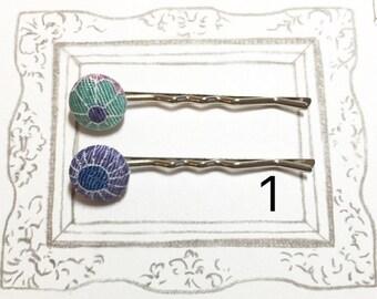 Flower Bobby Pins, Japanese Kimono Fabric Bobby Pin, Chirimen Fabric Bobby Pin, Fabric covered hair pin, Cute hair pin, Gift for girl