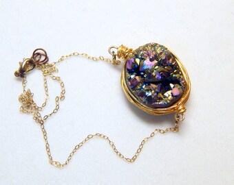 Stellar   Wire Wrapped Druzy Necklace