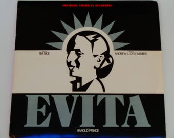 Evita - Premiere American Recording W/ Booklet  - Andrew Lloyd Webber - MCA 1979 - Stage and Screen - Vintage Gatefold 2 LP Vinyl Record