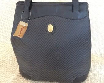 Genuine vintage MARK CROSS striped bucket black leather and canvas bag