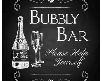 Bubbly Bar Chalkboard Event Wedding Shower Party Sign