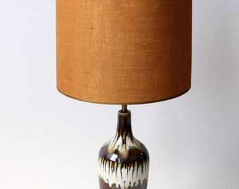70s GLAZED TABLE LAMP mid century retro vintage era