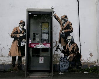 Destroyed  BANKSY **READY to HANG** /Spy Booth Canvas Giclee Prints Street Art Graffiti Various Sizes
