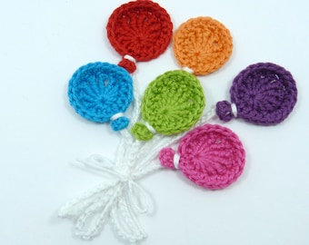 Crochet applique, 6 small crochet balloons, cardmaking, scrapbooking,  appliques, handmade and sew on patches embellishments