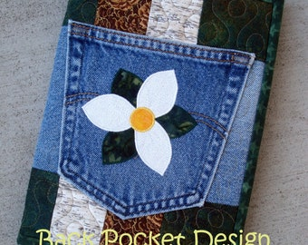 White Trillium Recycled Denim Quilted Jean Pocket Journal Cover