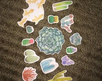 Watercolor Succulent Sticker Pack