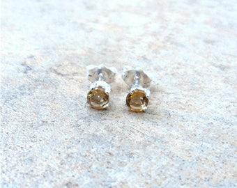 4mm genuine Citrine stud earrings in Sterling Silver