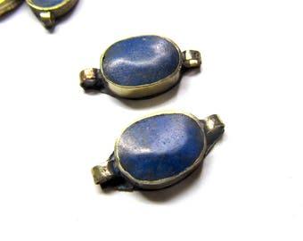 Blue Afghan Kuchi Connector, Gemstone and Silver Link, Lapis Lazuli, Handmade Peshawar, 4 Pc