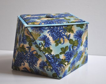Hand Made Keepsake Origami Box -  Fabric Covered Storage Box - Japanese Chrysanthemums - Cartonnage  - Gift Box - Sewing Gift