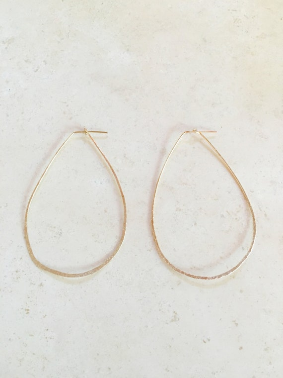 Thin Gold Oversized Almond Hoops
