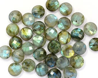 5 Piece 12mm Natural Sky Blue Labradorite Microfaceted Coin Shape Loose Briolette For Handmade Jewellery(8779-81)