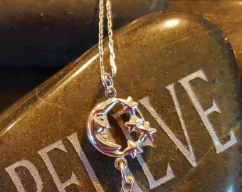 Silver Necklace, Moon Necklace, Silver Moon Necklace, Charm Necklace, Simple Necklace, Necklace for Women, Silver Charm, Teen Girls Gift