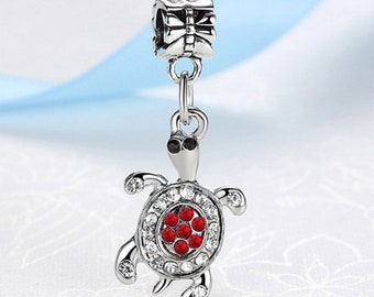 Charm style, European, pandora, silver, red, silver plated