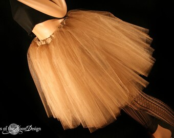 Antique Gold Romance tutu Tulle skirt knee length glimmer bridal bridesmaid wedding petticoat dance - You Choose Size-- Sisters of the Moon