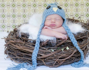 Newborn Bird Hat, Blue Bird Hat, Newborn Photo Props, Spring Photography Props, Baby Animal Hats, Bird Hat for Baby Boys or Baby Girls