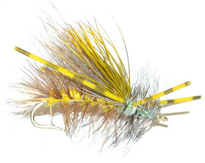 Hand-Tied Fly Fishing Trout Flies: Yellow Crystal Stimulator Dry Fly - Hook Size 10