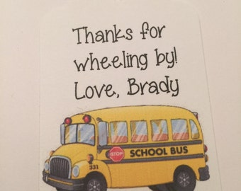 Set of 24 Personalized Wheels On The Bus Birthday Party Gift Tags Favor Tags