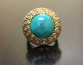 Art Deco Yellow Gold Turquoise Engagement Ring - Gold Halo Turquoise Wedding Ring - Art Deco Turquoise Ring - Yellow Gold Art Deco Ring