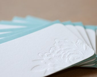 Impression Blossoming Flower Letterpress Mini Notes, Gift Notes, Stationery : 20 tiny flat cards w personalized envelope color choice