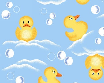 Flannel fabric by the yard - Rubber Ducky