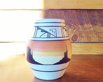 Vintage Southwest  Naatsilid Pottery Vase - Orange Sunset - Navajo - Signed