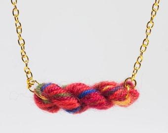 Rainbow Reds Skein of Yarn Necklace