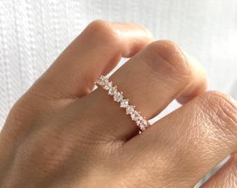 Rose Gold Wedding Band. Wedding Ring. Eternity Band Ring. 3MM Fine Cz Eternity Ring. Rose Gold Stacking Rings. Rose Gold Eternity Band Ring.