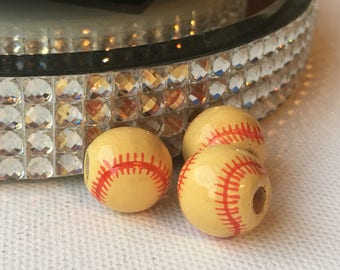 Peruvian Ceramic Yellow Softball Baseball Beads, Large (set of 3)