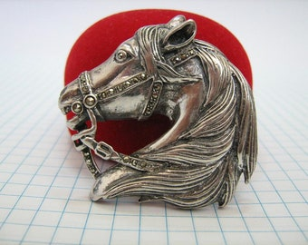 SOLID 925 Sterling Silver Pin Brooch Horse Head Harness Gear Equestrian Sport Equestrianism Jewelry Jewellery Oxidized Darkened Marcasites