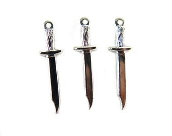 Rhodium Plated Dagger Charms (4X) (M558-B)