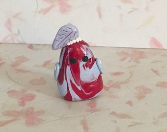 Red apple nature leaf creature, little Leafies Collection, fruit figure, small clay food figurine, kitchen decor
