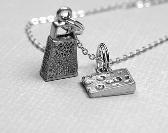 Cheese Grater Necklace, Food Grater, Block of Cheese, antiqued silver plated pewter, charm, delicate silver plated chain