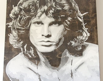 Jim Morrison Multilayer Graffiti Stencil Painting 24x36