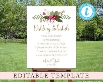 EDITABLE Wedding Schedule Template, Custom Wedding Order of Events Sign, Floral Reception Sign, Wedding Itinerary, Templett, Digital File