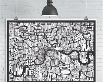 London Typography Map Print - 18x24 London Neighbourhood Map with Landmarks, Type Map Art Print Poster